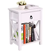 JAXPETY White Finish X-Design Side End Table Night Stand Storage Shelf with Bin (1PCS)