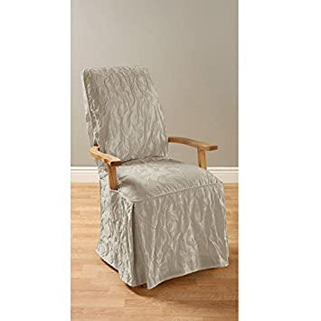 Sure Fit Matelasse Damask Arm Long Dining Room Chair Cover Linen