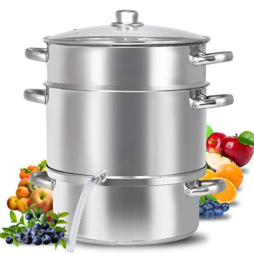11-Quart Stainless Steel Juicer Steamer, Fruit Vegetables Steamer For Food With Glass Lid Hose With Clamp Loop Handles, Perfect Home Kitchen Stainless Steel Cookware By WATERJOY (Fruit Loops 11)