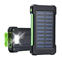 AZOT 12000mAh Solar Charger Power Bank W...