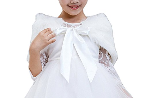 H.X Little Girl's Princess Bow Tie Faux Fur Shawl Wedding Party Dress Cape Wraps (S/1-3 years, (Faux Fur Bow)