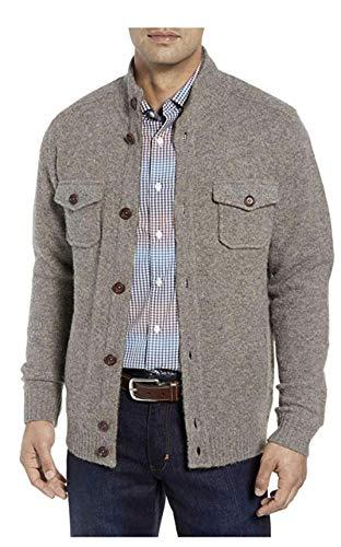 Tommy Bahama Men's Desert Dunes Long Sleeve Button Front Wool Silk Blend Shirt Jacket (Large, Cork)