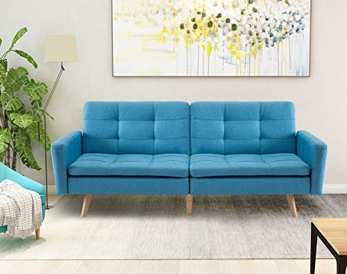 Stylish Upholstered Futon Sofa Bed with Two Removable Armrests, Sturdy and Durable Solid Wood Frame Construction and Legs, Split-Back Design Allows for Multiple Position Use, Blue