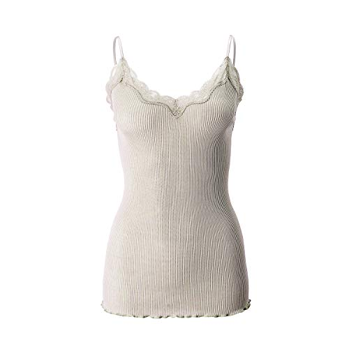 Tank Ribbed Top Lace (SilRiver Silk Knitted Women's Fancy Camisole Tank Top With Elegant Lace, Great Top for Layering (Free size, Nude))
