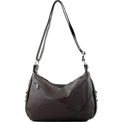 Ladies bag Genuine Dark bag modamoda Leather bag Shoulder bag de leather ital Shoulder T164 Chocolate gyyvcC4