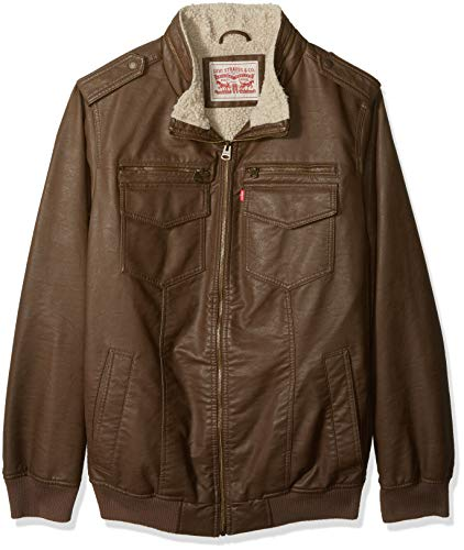 - Levi's Men's Big and Tall Faux Leather Sherpa Lined Aviator Bomber Jacket, Earth, LT