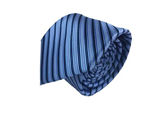 Blue Stripe Necktie (Mahogany Row Luxury Mens Neckties,100% Italian Microfiber Hand Made, 15 Awesome Variations (Blue/Navy Blue (Stripes)))