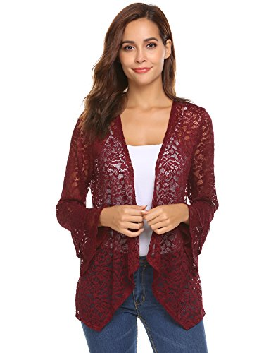 Sleeve Cardigan Lace Crochet Casual Tops Sheer Cover Up Plus Size (Wine Red, S) ()