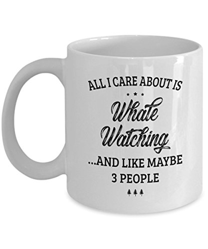 Whale Watching Mug - I Care And Like Maybe 3 People - Funny Novelty Ceramic Coffee & Tea Cup Cool Gifts for Men or Women with Gift - Ladies Wrist Watch Beluga