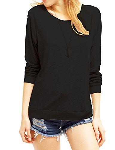 Haola Women's Long Sleeve Tops Round Neck Casual Teen Girls Tees Loose T Shirts M (Black Juniors Long Sleeve)