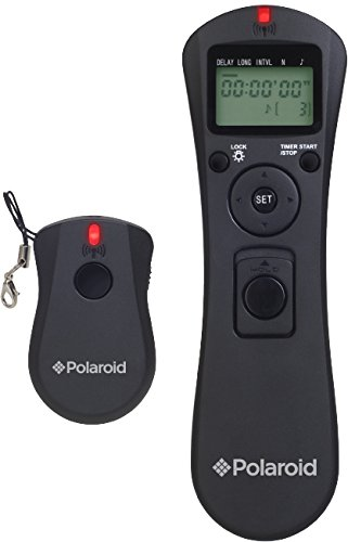 Polaroid Wireless Camera Shutter Remote w/Interval Timer - Includes Receiver, Handheld Transmitter w/Backlit Display & Connector Cable - Transmitter Enables Shooting Mode Switching w/o Need of Adjusting Camera Settings - Battery Operated For Nikon D90, D3100, D3200, D5000, D5100, D5200, D5300, D7000, D7100, D600, D610, P7700, P7800 SLR Cameras (Handheld Remote Transmitter)