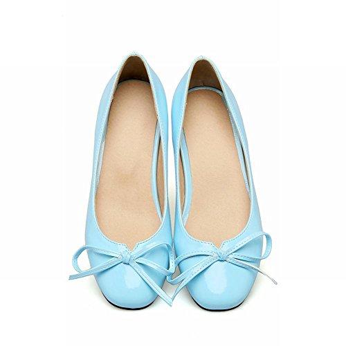 Carolbar Women's Lovely Sweet Bow Mid Heel Candy Color Court Shoes Blue E6YdDscou