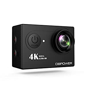 DBPOWER 4K Action Cam WIFI 12MP Waterproof Sport Camera 170 Degree Wide View Angle 2 Rechargeable Batteries and Kit of Accessories