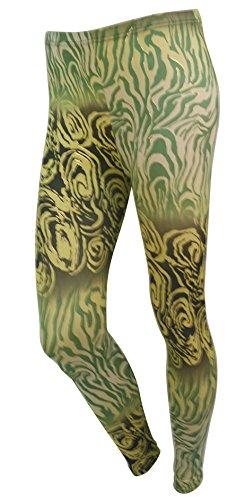 Ladys Peafowl Print Ankle Leggings
