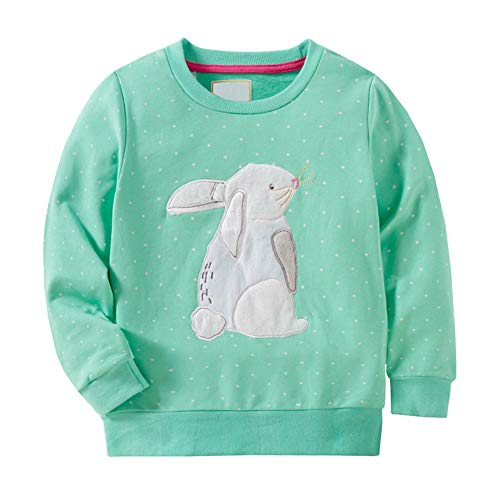 HUAER& Baby Girl Cotton Long Sleeved Pullover Sweatshirt (7T(Height:51inch/130cm), Green & Rabbit)