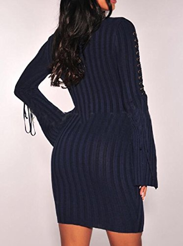 Dress Blue Purplish Sleeve Dresses Straps Women Knit Coolred Long Pencil neck High Fx6PnxZtqw
