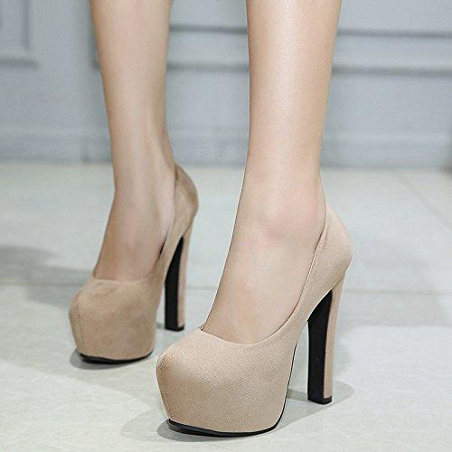 resistentes y de solo singles ZHZNVX redonda alto femeninos black liviana cabeza agua 14cm Negrita zapatos con al zapatos 5qxO4zw