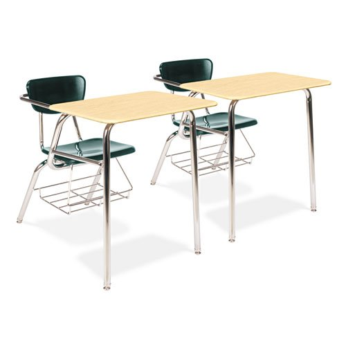 3400 Series Chair Desk, 22-3/4 x 35-3/4 x 29-1/4, Fusion Maple/Forest Green,2/CT