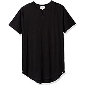 Rebel Canyon Young Men's Longline Shirt-Tail Short Sleeve Henley T-Shirt with Curved Hem Small True Black