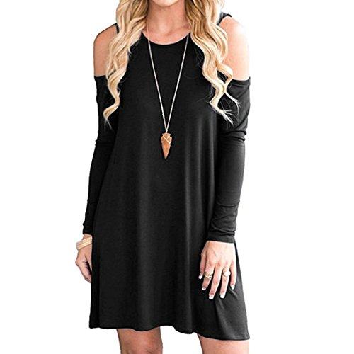 Boomboom 2018 Women Summer Round Neck Casual Dress (M, Black)