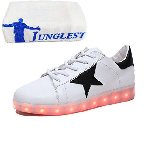 (Present:kleines Handtuch)JUNGLEST® bunt LED Leuchtend Aufladen USB Erwachsene Paare Schuhe Herbst und Winter Sport schuhe Freizeitschuhe Leucht la Weiß