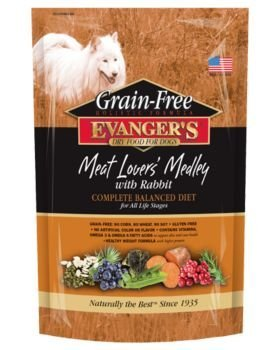Evangers 776602 Grain Free Meat Lover'S Medley with Rabbit Dry Food for Dog, 16.5-Pound