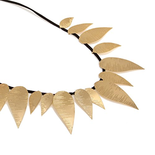 Bib Motifs (Handmade Adjustable Gold Bib Necklace with 15 Leaves Motif)