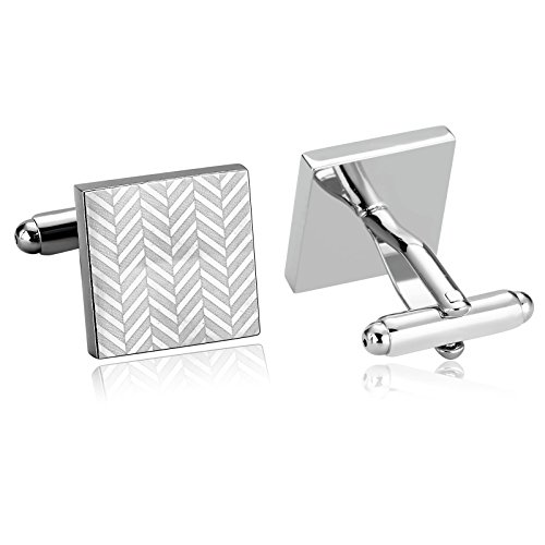 (KnSam Stainless Steel Silver Square Print Wave Button Cufflinks for Mens)