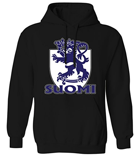 Suomi Finnish Coat Of Arms Royal Lion Shield Finland Mens Hoodie Sweatshirt (Black, Large) (Arms Finnish Of Coat)
