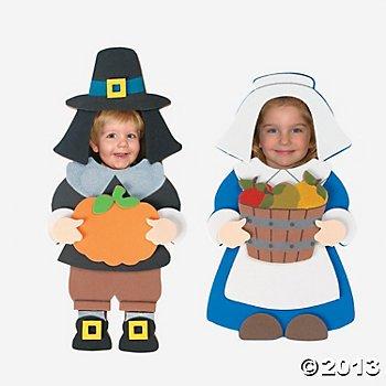 Pilgrim Photo Frame Magnet Craft Kit (12 Frames) Thanksgiving/Holiday Party/Pilgrims/Turkey Day -