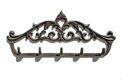 gasare, Key Holders for Wall, Decorative Hooks, Cast Iron, 5 Hangers, 12 ½ x 5 ½ inches, Brown, Screws and Anchors, 1 Unit