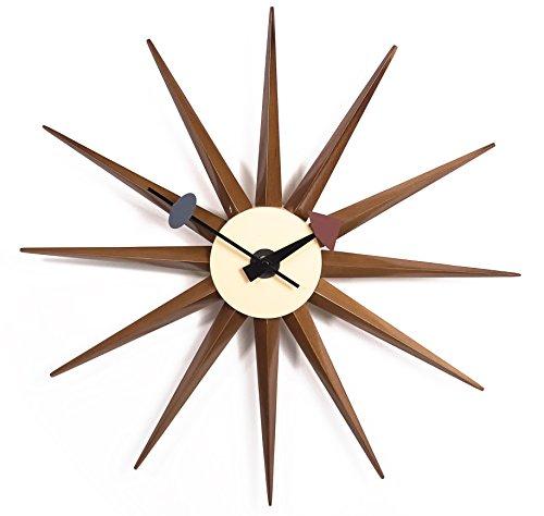 lch walnut sunburst modern wall clock