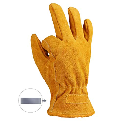 OZERO Leather Work Gloves Flex Grip Tough Cowhide Gardening Glove with a Detachable Magnet for Holding Nails 1 Pair (Golden, Large)