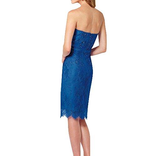 Blau Knielang mia Partykleider Braut La Promkleider Langarm Brautmutterkleider Festlichkleider Spitze Jaket Etuikleider Dunkel yf7yacw6q
