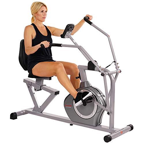 Sunny Health & Fitness Magnetic Recumbent Bike Exercise Bike, 350lb High Weight Capacity, Cross T…