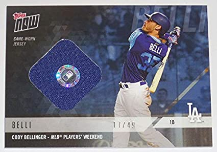 2018 CLAY BELLINGER TOPPS NOW GAME USED DODGERS PLAYERS WEEKEND JERSEY  RELIC CARD b8c4f01864a