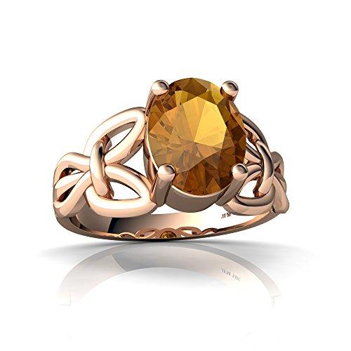 14kt Rose Gold Citrine 9x7mm Oval Celtic Knot Ring - Size 7.5