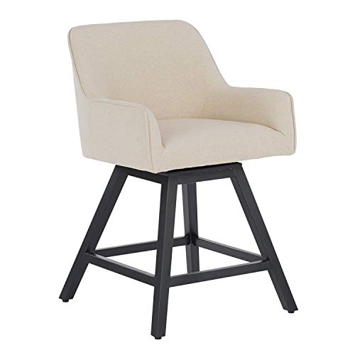 MRT SUPPLY Contemporary Upholstered Swivel Countertop Barstool Chair, Sand with Ebook