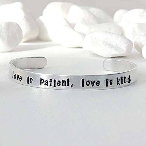 Love Is Patient Love Is Kind Hand Stamped Cuff Bracelet