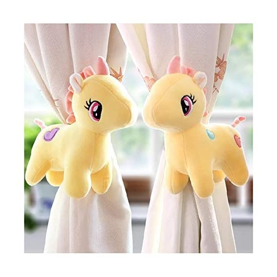 Tickles 1 Pair Unicorn Curtain Tie Backs (Color: Yellow)