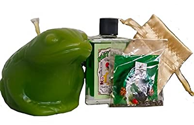 Money Frog Candle Kit - Prosperity, Casino, Feng Shui, Witchcraft, Pagan, with Perfume & Amulet