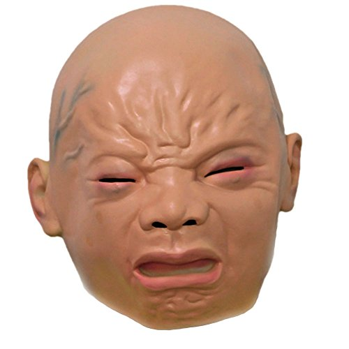 Halloween Pinhead Costume (YBB Latex Mask, Scary Ugly Halloween Costume Party Cosplay Latex Head Mask Cry Face)