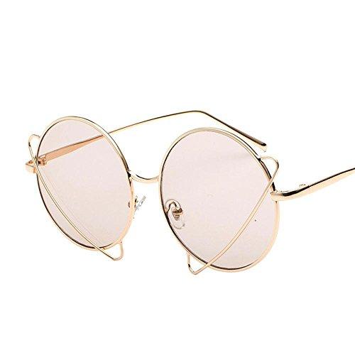 Aoligei European & American exagéré métal de personnalité autour de lunettes de soleil gelée femelle de marée lunettes de soleil couleur Prince miroir Tran Miroir plat sParent iNCZAmA