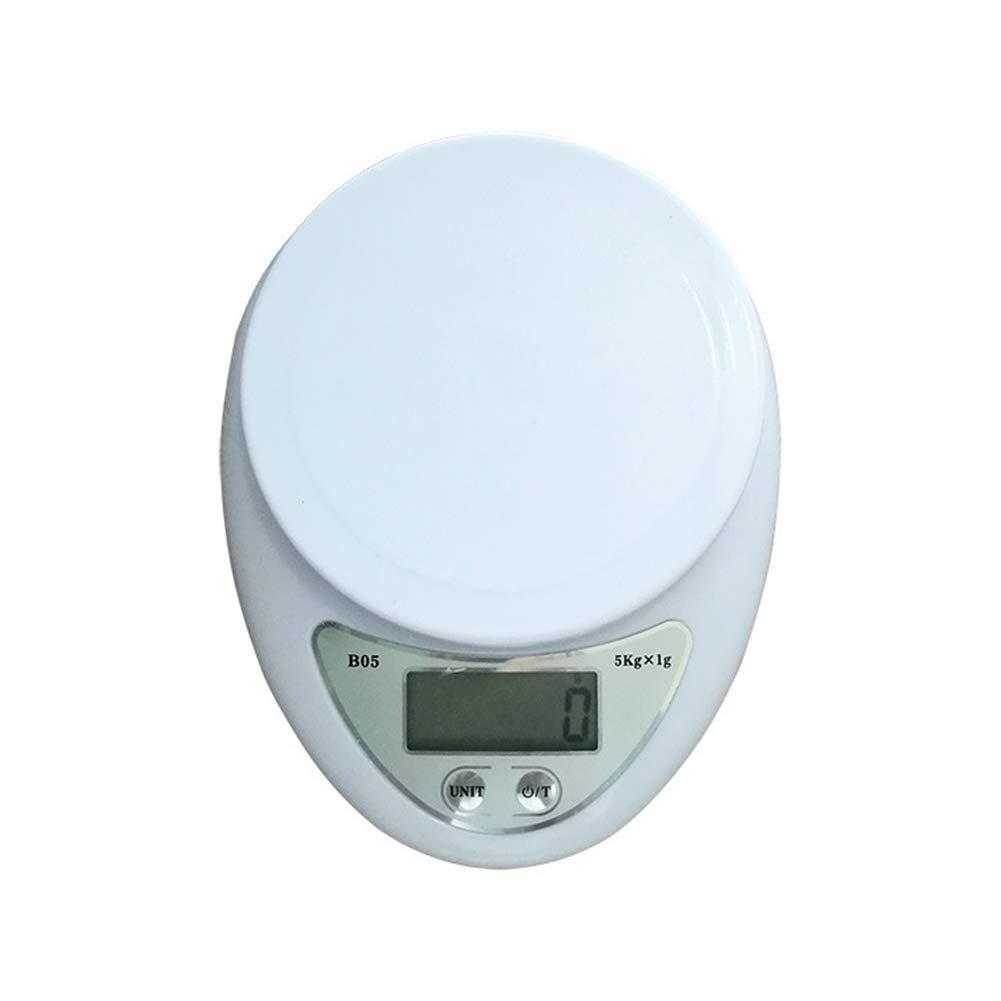 NAttnJf Bilancia elettronica da cucina 5Kg / 1g Mini Home Kitchen Precise Electronic Scale Bilancia per alimenti Bianca