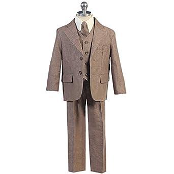 b69403141cb9f スーツ 男の子 長袖 長ズボン 5点セット ブラウン リネン (238) 8 130