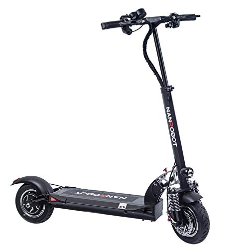 NANROBOT D5+ 2.0 Foldable Lightweight 2000W Electric Scooter with Top Speed of 40 MPH andTraveling up to 50 Miles Range - Black+Red (D5+ 2.0 Scooter - Upgrade)