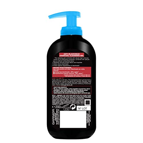 Garnier Pure Active Anti-Blackhead Charcoal Cleansing Gel Wash, Enriched with Salicylic Acid and Charcoal for Oily Spot Prone Skin 200 ml