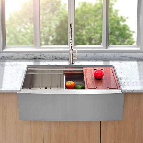 Lordear 33 Inch Farmhouse Ledge Kitchen Sink Apron Front Deep Single Bowl 16 Gauge Stainless Steel Luxury Farm Workstation Sink