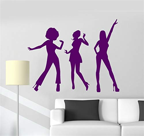 - wipeaon Wall Decal Quote Words Lettering Decor Sticker Wall Vinyl Disco Dance Women Silhouette Music Girls Music