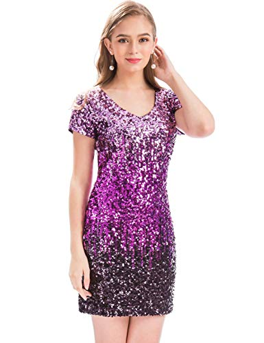 MANER Women's Sequin Glitter Short Sleeve Dress Sexy V Neck Mini Party Club Bodycon Gowns (S, Periwinkle/Festival Fuchsia/Dark Purple) ()